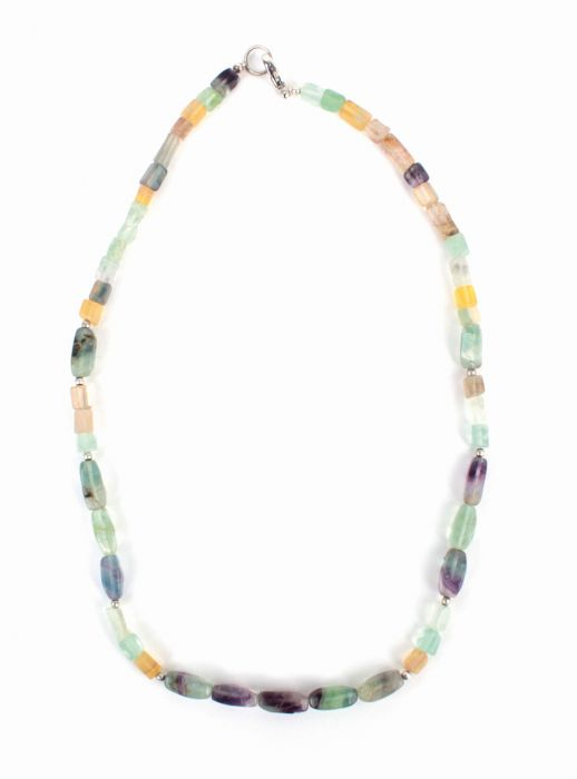 Halskette Fluorit, grün/bunt