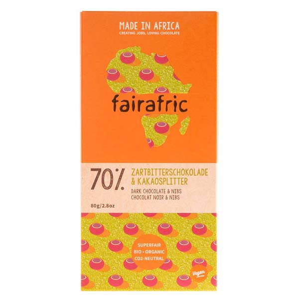 fairafric - Bio- Zartbitterschokolade 70% mit Kakaonibs