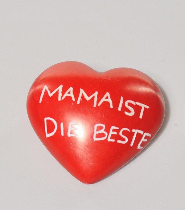 """Speckstein Herz rot """"MAMA IST DIE BESTE """""""