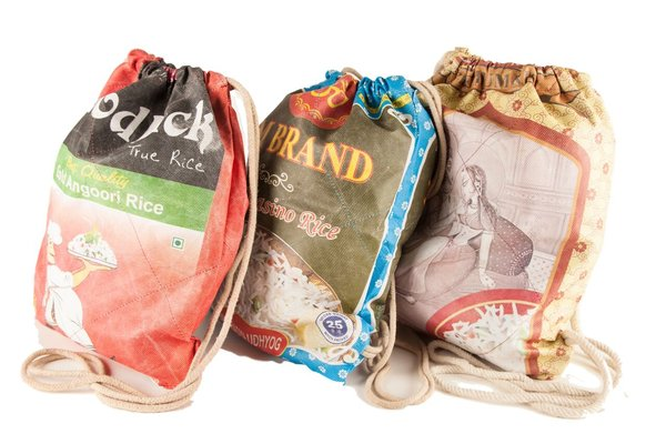 Rucksack/Turnbeutel aus recycelten Reissäcken