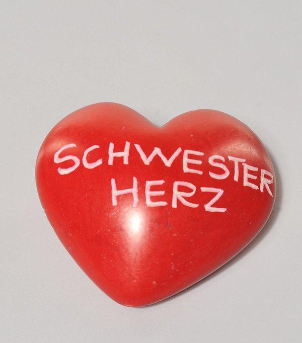 """Speckstein Herz rot """" SCHWESTERHERZ  """""""